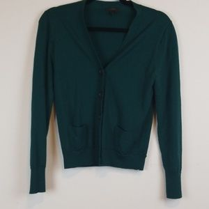 J. Crew dark green button front cardigan size M